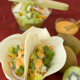 Thumbnail image for Kiwi Shrimp Banh Mi Tacos