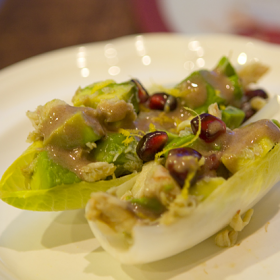 Thumbnail image for Endive Boats with Avocado, Pomegranate, & Crab Salad—Gluten-Free Appetizer for Share Our Holiday Table