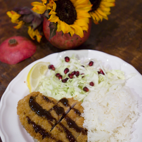 Thumbnail image for Tonkatsu (Breaded Pork Cutlet) with a Pomegranate Molasses Tonkatsu Sauce