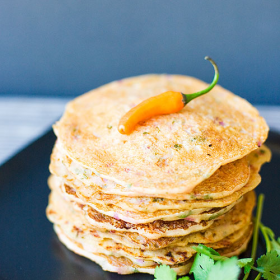 Thumbnail image for Indian Savory Pancakes (Semolina and Yogurt Pancakes) from Indian Simmer