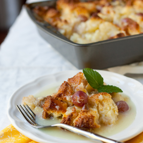 Thumbnail image for Dangerous Grape Bread Pudding with White Chocolate Sauce