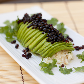 "Thumbnail image for Avocado Crab Roll with Soy Sauce ""Caviar"""