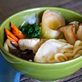 Thumbnail image for Three Mushroom Vegetarian Nabeyaki Udon