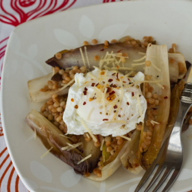 Thumbnail image for Sautéed Endive with Toasted Israeli Couscous and Poached Eggs