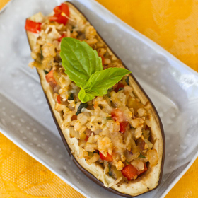 Thumbnail image for Brown Rice & Veggie Stuffed Japanese Eggplant