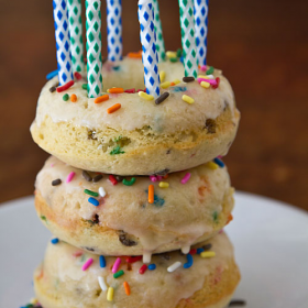 Thumbnail image for Confetti Cake Baked Doughnuts