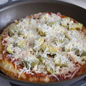 Thumbnail image for Roasted Corn, Avocado and Tuna Fry Pan Pizza