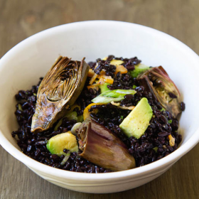 Thumbnail image for Roasted Baby Purple Artichoke Black Rice Salad