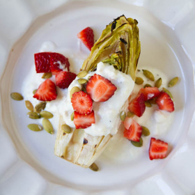 Thumbnail image for Grilled Endive with Strawberries, Pepitas, and Feta Cheese Dressing