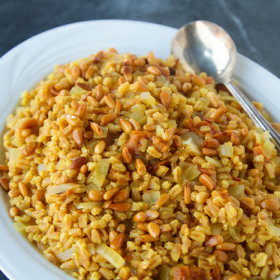 Thumbnail image for Saffron Farro with Apricots and Pine Nuts for a New Year, New You