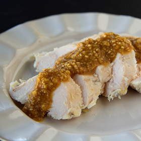 Thumbnail image for Sous Vide Ginger Chicken with Ginger Sesame Miso Sauce