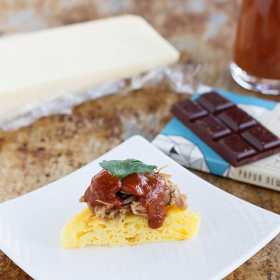 Thumbnail image for Pulled Pork with Chocolate Barbecue Sauce & Cheese Corn Cake — Celebrating Cheese & Chocolate