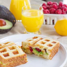 Thumbnail image for Waffled California Avocado and Raspberry Toast