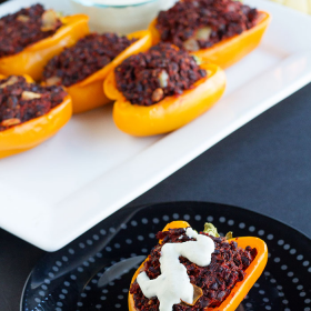 Thumbnail image for Black Rice Stuffed Peppers with Cashew Cream Sauce
