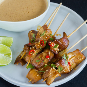 Thumbnail image for King Satay with Spicy Peanut-Ginger Sauce from Wicked Healthy