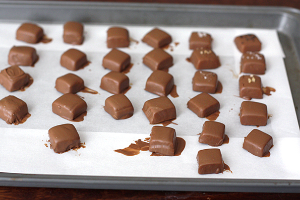 caramels dipped and drying