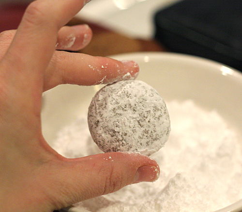 rolling in confectioners' sugar