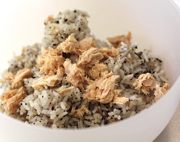 Add some salmon to the rice