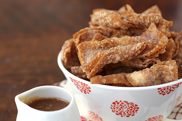 Churro Wontons & Salted Butter Caramel Dipping Sauce