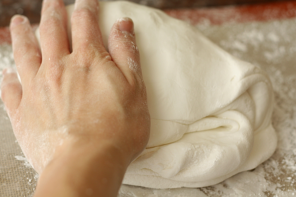 Knead the candy dough