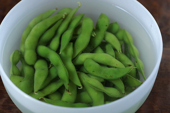 Let the edamame soak for about 8 minutes