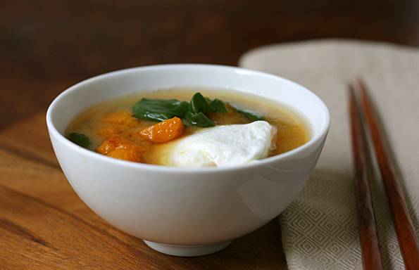 Miso Soup With Butternut Squash, Poached Eggs, & Spinach