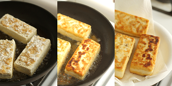 Cooking the tofu steaks