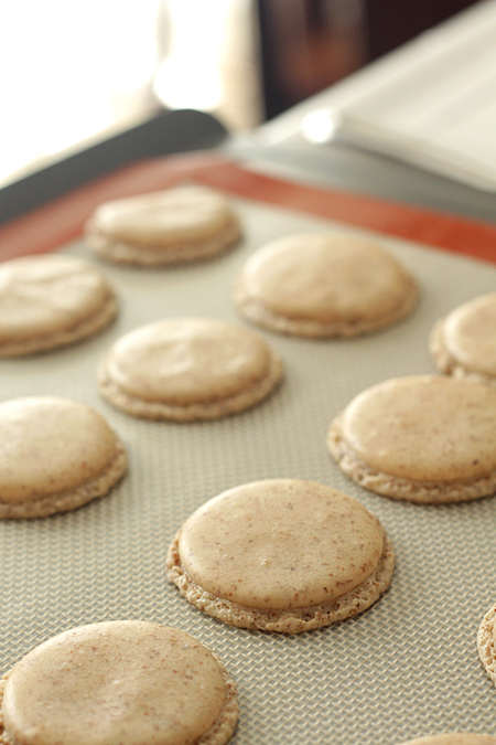 Macarons cooling on a silpat