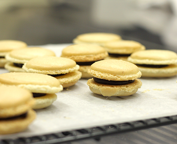 Macrons filled with chocolate ganache