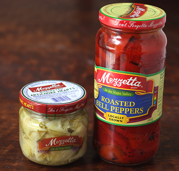 Mezzetta marinated artichoke hearts and roasted red bell peppers