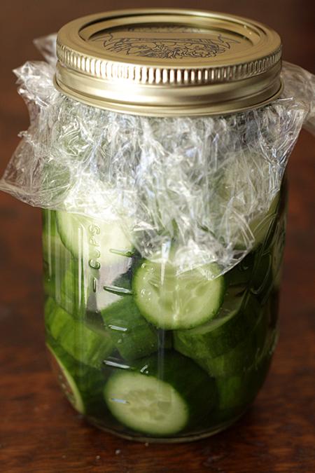 Seal the cucumbers in a jar