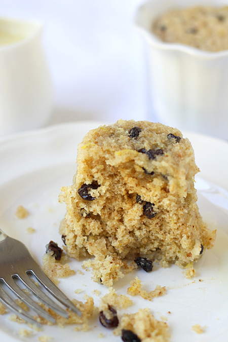 Digging into Spotted Dick with White Chocolate Butter Sauce