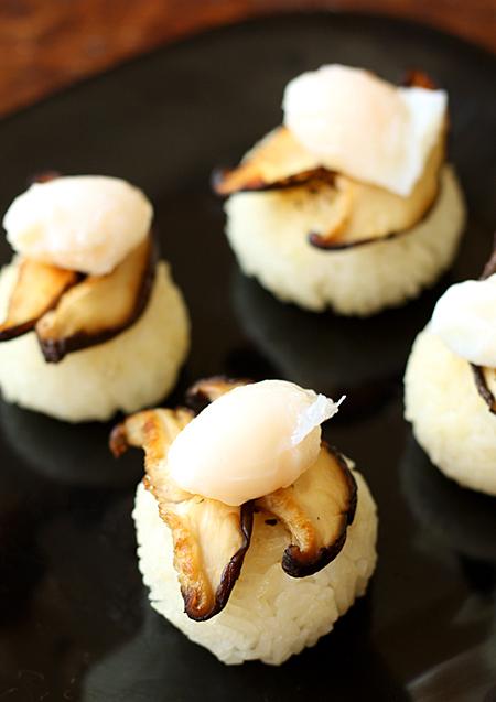Onigiri + Shiitake mushrooms + poached quail egg