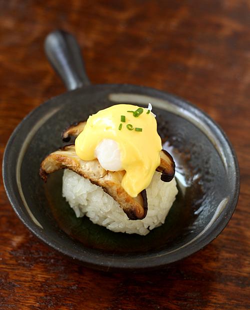Quail egg benedict pagoda