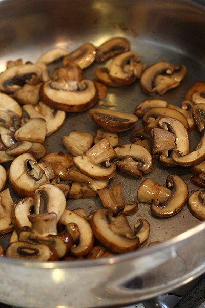 Saute the sliced mushrooms