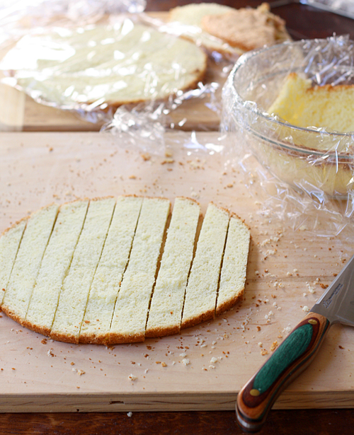 Slice a layer of genoise into fingers