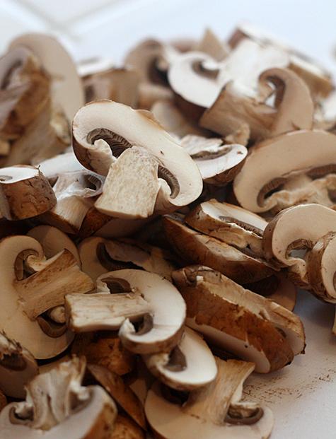 Sliced crimini mushrooms