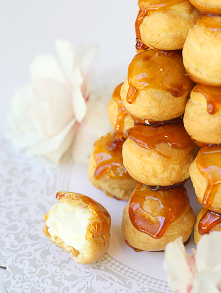 Croquembouche made with pastry cream filled cream puffs
