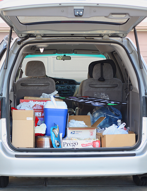 Packing up the car to go to the carnival