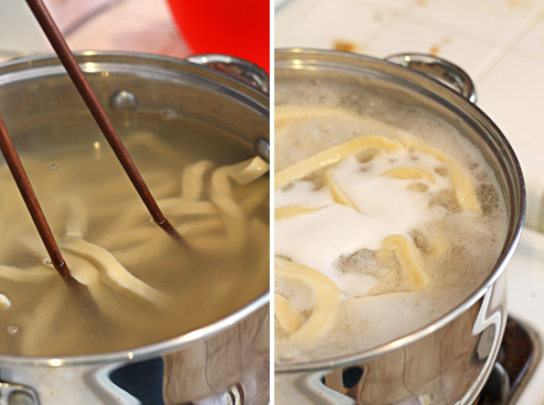 Cook the noodles in boiling water