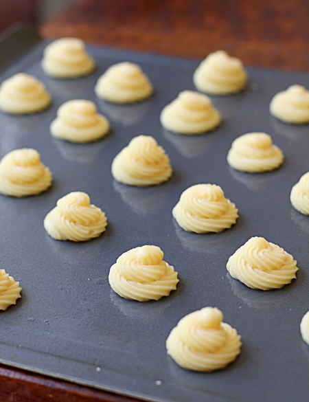 Cream puffs ready to go into the oven