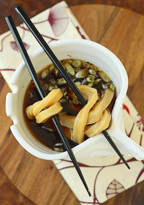 Homemade udon noodles in a simple shoyu broth