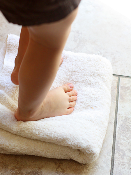 Knead the dough with your feet!