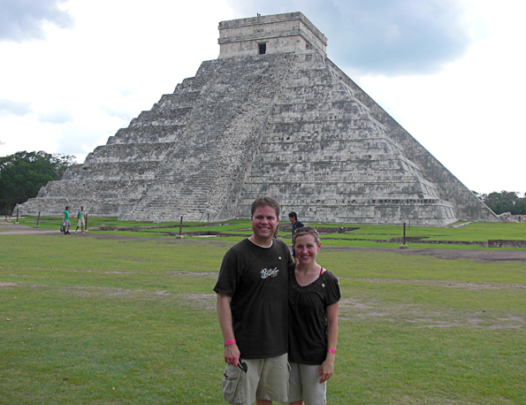In front of the big pyramid at Chichen Itza