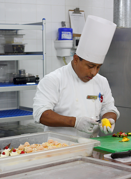 Prepping desserts in the Excellence kitchens