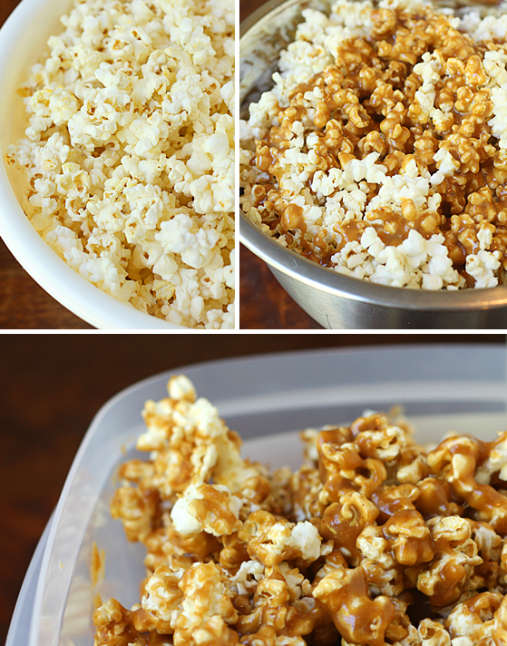Adding the caramel to the popcorn