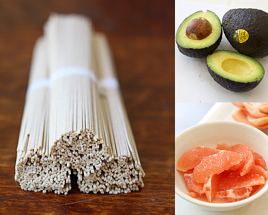 Soba noodles, avocados, and grapefruit