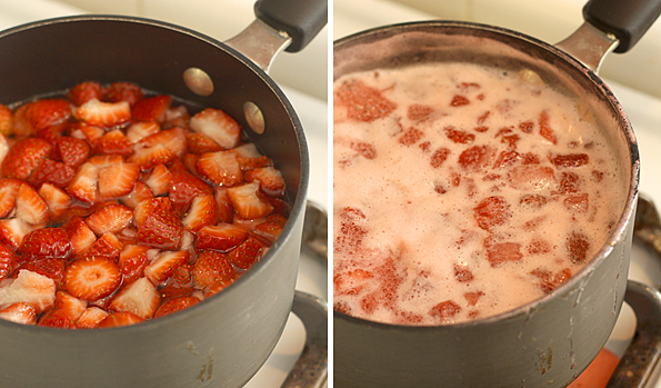 Making strawberry syrup