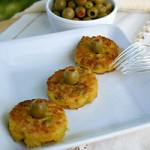 Tortillitas de Patatas y Aceituna - Bite Sized Spanish Potato Omelets with Green Olives
