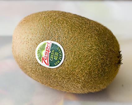 A lone Zespri green kiwifruit